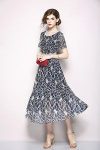 dd56d02cca Y D mid calf round neck solid pattern short sleeve dress for women grey  color