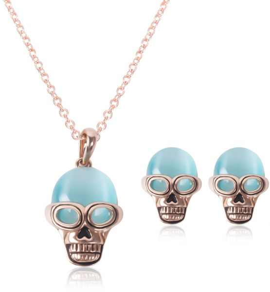 18 k Rose Gold Plated Elegant Pearl Pendant Necklace Earrings Set Jewelry Set for Women skull