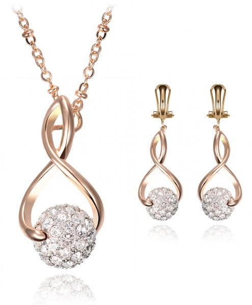 18 K Rhinestone Simulated Diamond Water Droplets Gold Plated Cubic Zirconia Necklace And Earring Jewelry Sets for Women