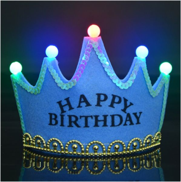 LED Light King Crown Happy Birthday Hat With Boy Prince For Kids