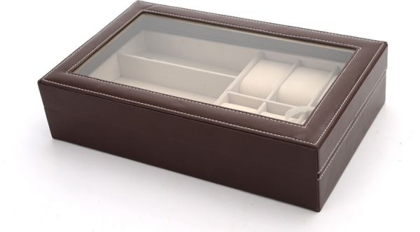 5812f6b258c Watch Eyewear Sunglasses Storage Box 6 watches and 3 Sun glasses Carbon  Fibre Case Brown