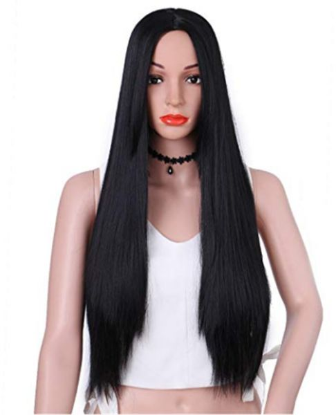 Synthetic Long Straight Hair Wigs Black Color Full Wig for Women Middle  Part Heat Resistant Wigs Long Wigs for Black Women  b38b20c27d