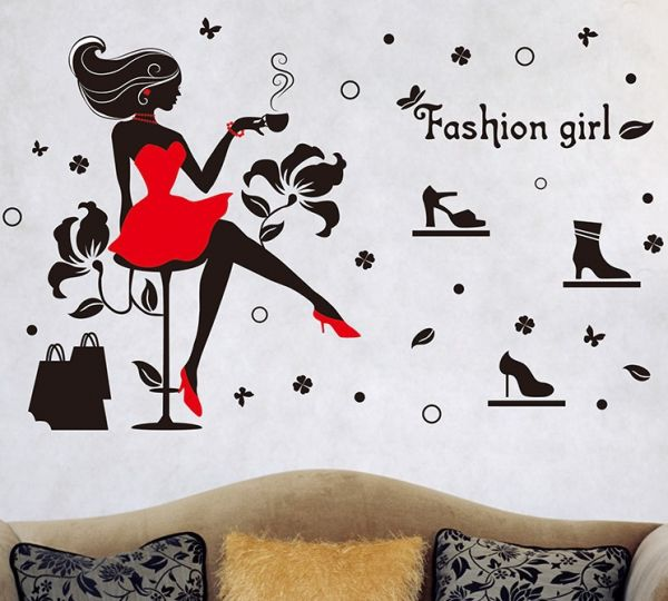 Creative Fashion Girls Bedroom Wall Stickers Black Removable Shoes