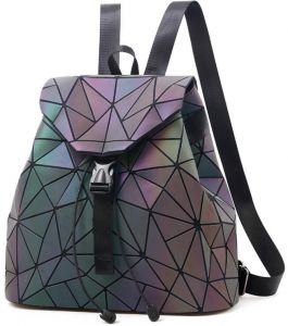 Classic fashion Geometric Women Backpack Luminous Flash Travel Shoulder Bag  Rucksack 14d569fcef854