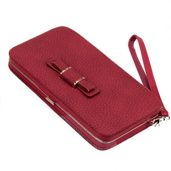 Women s purse in the long mobile phone bag bow women s bag ultra-leather  short passport bag men s and women s travel document bag  5d7209228