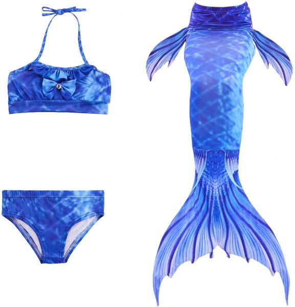 c593a76021248 3 in 1 Set Girls Mermaid Tail Swimsuit Sets Sea-Maid Swimwear Bathing Suit  Kids Mermaid Tail For Swimming Girls Bikini Suit 140CM-150CM