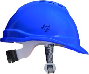 1e199e55ecf Pitbull Safety Ventilated Blue Helmet With Ratchet and Strip Chin