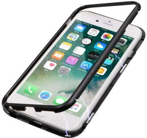 iphone 7 Plus / iphone 8 Plus Magnetic Adsorption case Plus Clear Tempered Glass Back Metal Frames Full Body Slim Fit Ultra-Thin case Transparent Magnet ...
