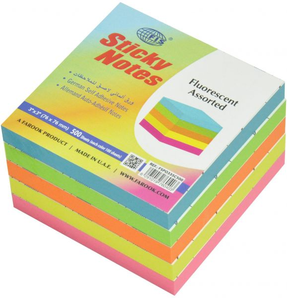 Fis Sticky Note Pads 5 Assorted Fluorescent Colors 500 Sheets 3 X