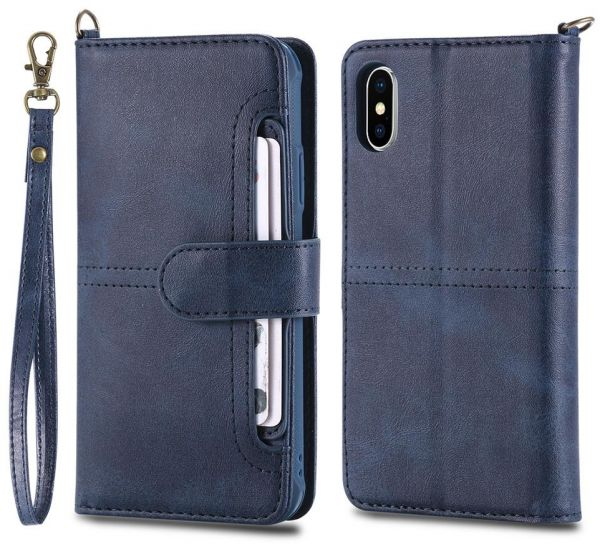Two in one leather anti-fall mobile phone shell Multifunction wallet phone  case for iphone X