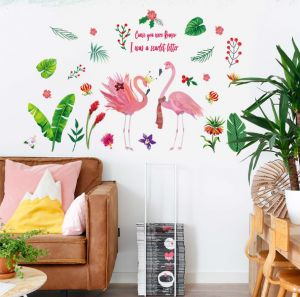 bc4b06174601f Pink Crown Flamingos Green Plants Leaves Pastoral Style Wall Stickers Wall  Decal Vinyl Removable Art Wall Decals for Bedroom Living Room