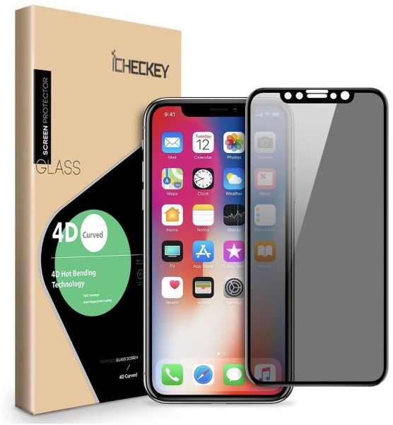 iPhone X Privacy Screen Protector ICHECKEY 4D Curved Anti-Spy Anti-Peep Full Coverage Tempered Glass Screen Cover Shield for Apple iPhone X iPhone 10, ...