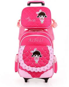 b7b19d904640 Y D Kids s Trolly Bag 2Pcs Set Multifunctional Detachable Cartoon Pattern  Waterproof Two Wheels School Backpack Set Pink Color