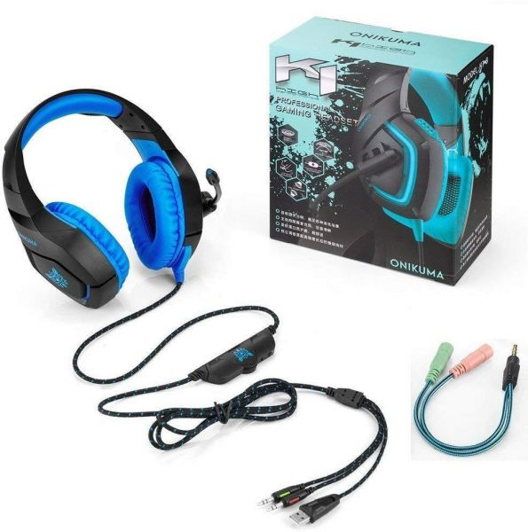 ONIKUMA Gaming Headset with Mic for New Xbox One, PS4, Nintendo Switch -  Noise Isolating, Deep Bass - 3 5mm Surround Stereo USB LED Gaming  Headphones