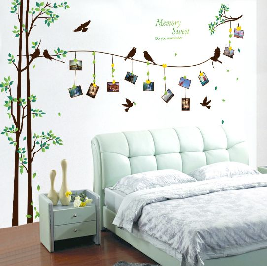 Large Size Flying Birds Photo Frame Tree Wall Stickers Home Decor