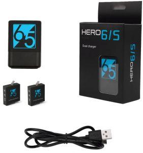 Dual Battery Charger with 2Pcs 1220mah Rechargeable Battery for GoPro Hero 6 5 Black
