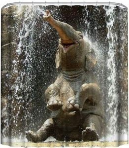 Funny Elephant Shower Curtain 3D Printing Digital Bath Decorations Curtains With Hooks 72x72inch