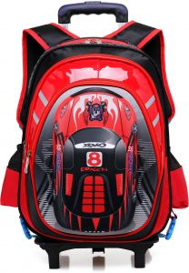 be4cfab96f2a Y D Kids s back to school Trolly Bag Multifunctional Striped Pattern Double  Wheel Waterproof School Sports Backpack Red color