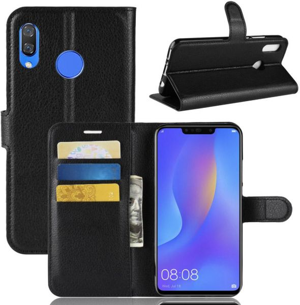 brand new c7af4 1acce Huawei Nova 3i Leather Wallet Flip Card Stand Case Cover Black