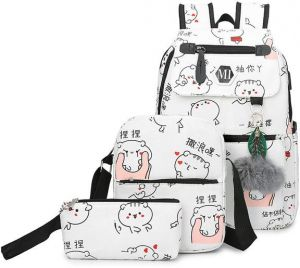 3 Pcs set USB Charging Canvas Backpack Printed School Bags For Teenage  Girls Shoulder Drawstring Bags Travel Students Polyester Cute Women Girl  School ... 800244fd8725c