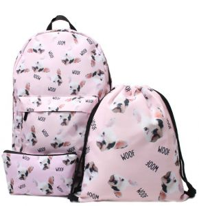 7f433a6f8c 3D Printed Backpack Cute Pug 3 Pcs set Printing School Backpack for Teenage  Girls Waterproof Knapsack Mochila for Girls All-match Canvas Travel Causal  ...