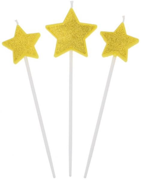 Gold Happy Birthday Candle Love Heart Star Sticks Design Cake Topper Party Decor