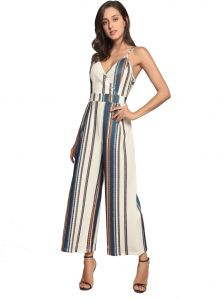 110e43f9758e Women s stripe printing High Waist Wide Leg Long Pants Palazzo Jumpsuit  Rompers Ladies Outfits