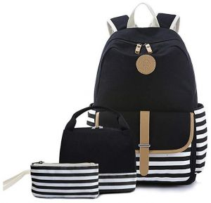 4e393901fd51 Teen Girl School Backpack with Lunch Box Pencil Case 3 in 1 Canvas Set  Women Travel Backpack for Elementary