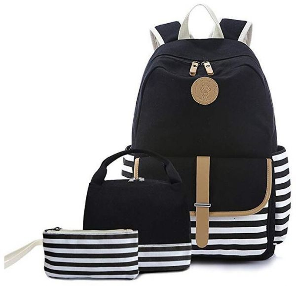 Teen Girl School Backpack with Lunch Box Pencil Case 3 in 1 Canvas Set  Women Travel Backpack for Elementary  cafdcde85ac20