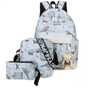 5659bacada2c Canvas Backpack 4 Pcs set Birds Women School Backpacks