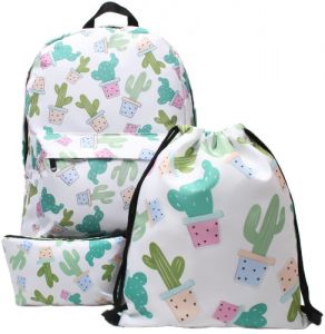 603f9a5baa34 3 in 1 Cactus Printing Youth Schoolbags School Backpack Student  TeenageTravel Bags Drawstring Daypack Multi-Functional High Quality Zipper School  Backpack ...