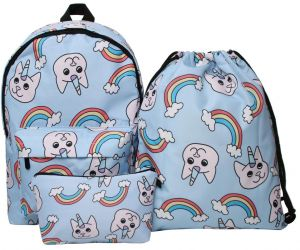 eae0da96f8f9 3PCS Set Backpack Cartoon Unicorn 3D Printing Shoulder Drawstring and  Cosmetic Bag Waterproof Bag for Teenage Girls Student School Bag Polyester  Cute ...