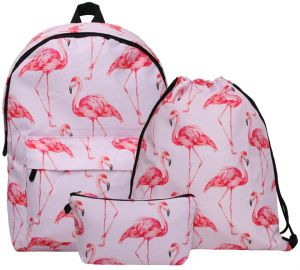 4622cc628e 3 in 1 Backpack Waterproof 3D Flamingo Animal Printed Drawstring and  Cosmetic Bag for Teenage Girl Student Schoolbags Backpack Laptop Bacgpack  Notebook Bag ...