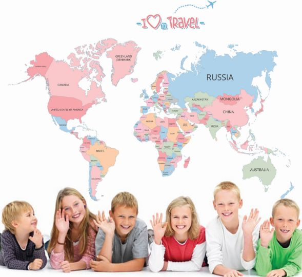 Child World Map Wall Stickers For Kids Rooms Living Room Home