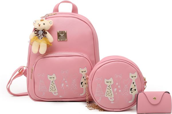 ee9d8766c2 3Pcs Set Small retro embroidered kitten mother PU Leather casual Backpacks  female School Bags For Teenage Girls