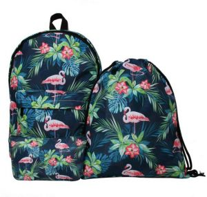 bb08fc780d2b 3Pcs set women lovely Flamingo backpack school bags 3D printing student bag  set mm