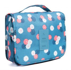 a71aca616f Toiletry Bag Multifunction Cosmetic Bag Portable Makeup Pouch Waterproof  Travel Hanging Organizer Bag for Women Girls-Blue Flowers