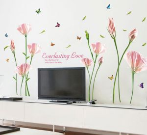 Pink Color Calla Flowers 3d Wall Sticker Pvc Material Removable Diy Wall Decals For Living Room Bedroom Tv Wall Home Decoration X