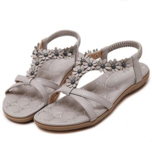 d5f2c8929fd3 Korean Boho Ethnic Style Comfortable Women Flat Heel Sandals Bohemian  Beaded Crystal Clip Toe Flat Shoes Ladies Flip Flops Beach Sandalias Mujer  Summer- ...