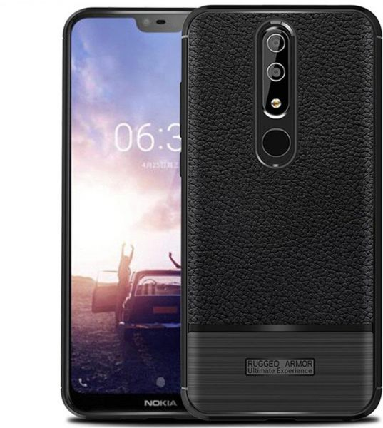 new concept 60412 e63af RUGGED ARMOR Nokia 6.1 Plus Case, Flexible Silicone TPU, Black