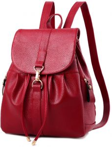 Korean version casual backpack outdoor wild leather shoulder bag women's rucksack student bag red