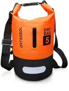 068b5f38401 Arteesol Waterproof Dry Bag with Shoulder Strap for Boating and Camping  5L-Orange