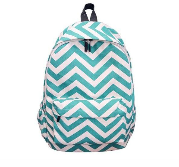 Teens Wave Striped Backpacks Canvas Travel bag Double-Shoulder School Bags  Rucksacks Green for Gilrs Women 4c4a3f8b3a