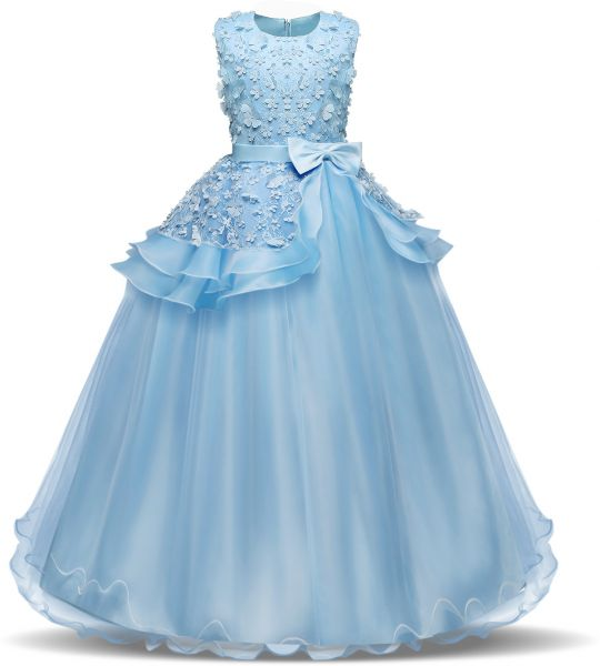Children s Performance Dress - Lace Flower Ball Gown for Girls - Sky Blue -  6-8 Years fa974656d5b7