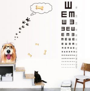 Eye Chart Cute Glasses Dog Wall Sticker Self Adhesive Wallpaper Vision Inspection Table Kid S Room Wall Stickers Home Decal Ee
