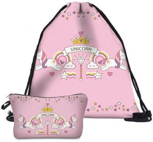 0b21143ab0a53 Unicorn Drawstring Bag with Cosmetic bag 2 in1 School Backpack School Bag  Cartoon Gift Candy Drawstring Bags Pouch Treat Goodie Bags Kids Girls Boys  ...