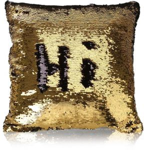 286095fa5 MOCOFO Black and Gold Sequin Pillow, Reversible Glitter Sequins Cover Magic  Mermaid Fish Pillowcase Parkly Fun Flip Throw Pillow Cover Couch Cute Color  ...