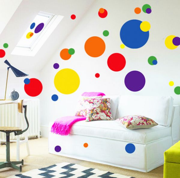 Colorful Circle Sticker Living Room Tv Background Fashion Wall Bedroom Decoration Beautiful Round Kindergarten Clroom
