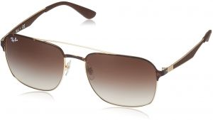 b1632a7a0e Ray-Ban Metal Unisex Square Sunglasses, Gold Top Havana, 58 mm