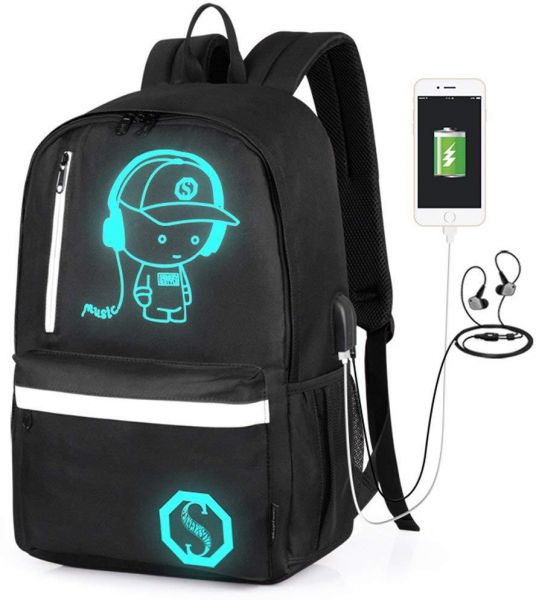 f78f3abb652f Anime Luminous Backpack Knapsack with USB Charging Port and Audio Jack